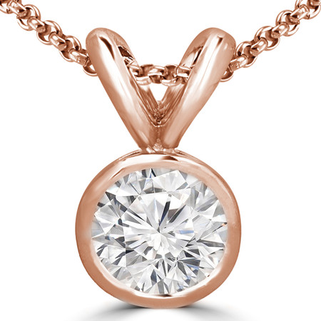 Round Cut Diamond Solitaire Bezel-Set Pendant Necklace with Chain in Rose Gold - #R720-R