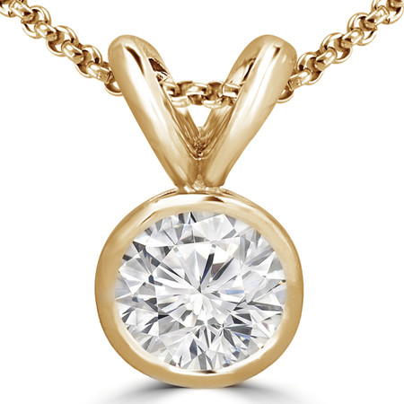 Round Cut Diamond Solitaire Bezel-Set Pendant Necklace with Chain in Yellow Gold - #R720-Y
