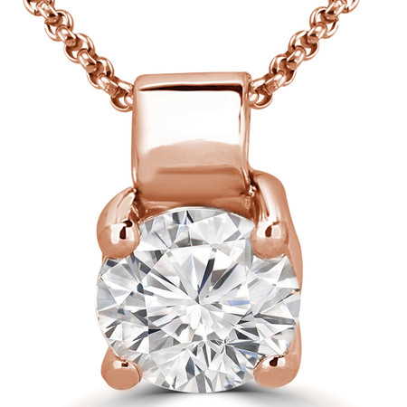 Round Cut Diamond Solitaire 4-Prong Pendant Necklace with Chain in Rose Gold - #R730-R