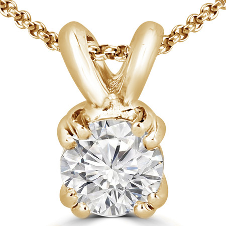 Round Cut Diamond Solitaire 4-Double Prong Pendant with Chain in Yellow Gold - #R790R-Y