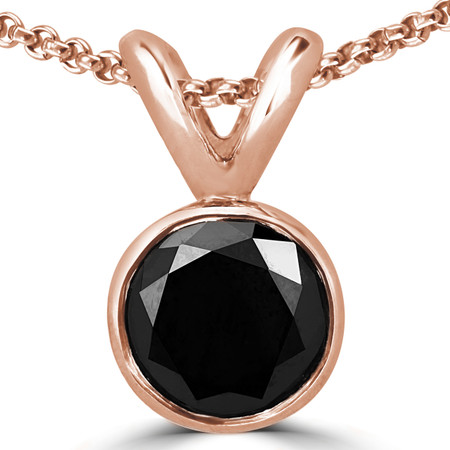 Round Cut Black Diamond Solitaire Bezel-Set Pendant Necklace with Chain in Rose Gold - #R720-R-BLK