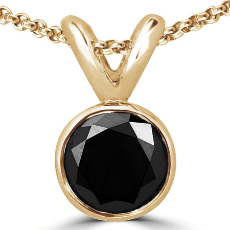 Round Cut Black Diamond Solitaire Bezel-Set Pendant Necklace with Chain in Yellow Gold - #R720-Y-BLK