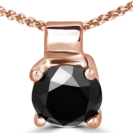Round Cut Black Diamond Solitaire 4-Prong Pendant Necklace with Chain in Rose Gold - #R730-R-BLK