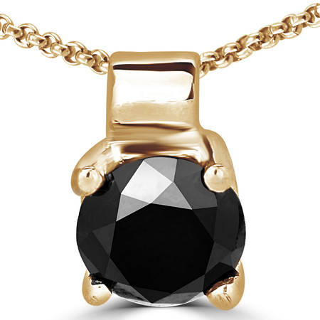 Round Cut Black Diamond Solitaire 4-Prong Pendant Necklace with Chain in Yellow Gold - #R730-Y-BLK