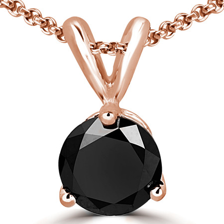 Round Cut Black Diamond Solitaire 3-Prong Pendant Necklace with Chain in Rose Gold - #R740-BLK-R