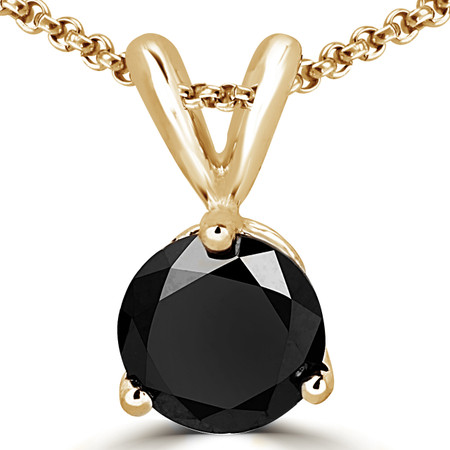 Round Cut Black Diamond Solitaire 3-Prong Pendant Necklace with Chain in Yellow Gold - #R740-BLK-Y