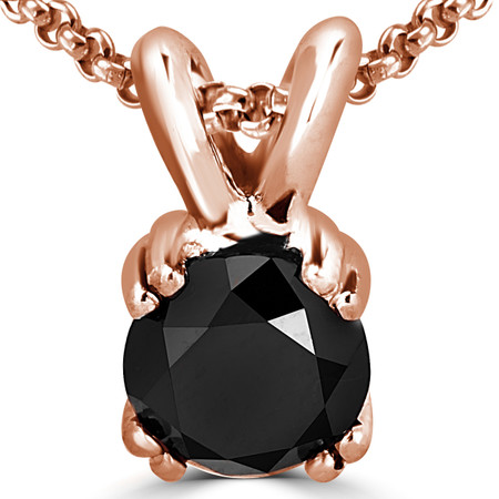 Round Cut Black Diamond Solitaire 4 Double-Prong Pendant Necklace with Chain in Rose Gold - #R790R-R-BLK