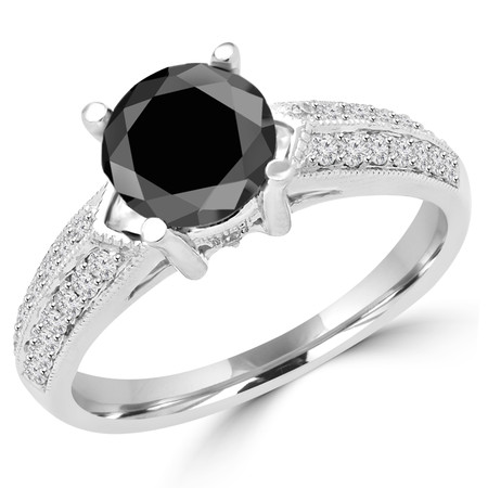 Round Cut Black Diamond Multi-Stone 4-Prong Vintage Engagement Ring with Round Diamond Accents in White Gold - #HR6225-W-BLK