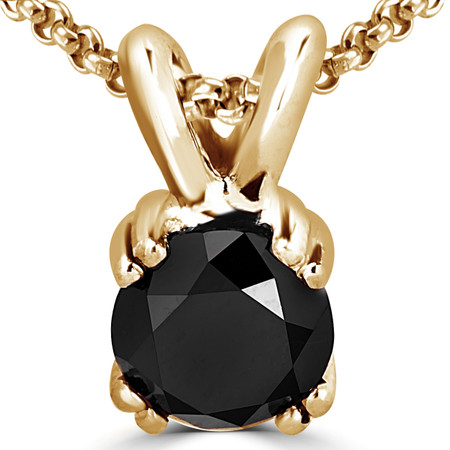 Round Cut Black Diamond Solitaire 4 Double-Prong Pendant Necklace with Chain in Yellow Gold - #R790R-Y-BLK