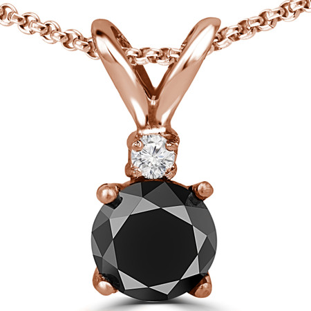 Round Cut Black Diamond Two-Stone 4-Prong Pendant Necklace with a Round Rose Diamond Accent & Chain in Rose Gold - #R711-BLK-R