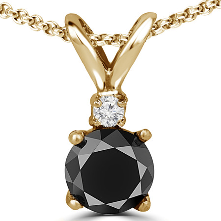 Round Cut Black Diamond Two-Stone 4-Prong Pendant Necklace with a Round Yellow Diamond Accent & Chain in Yellow Gold - #R711-BLK-Y