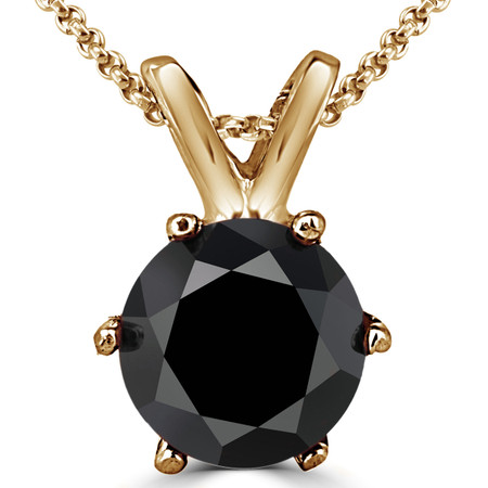 Round Cut Black Diamond Solitaire 6-Prong Pendant Necklace with Chain in Yellow Gold - #P6R-Y-BLK