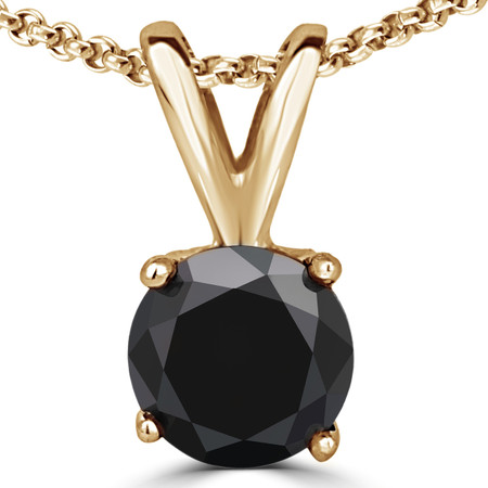 Round Cut Black Diamond Solitaire 4-Prong Y-Bail Pendant Necklace with Chain in Yellow Gold - #P4R-Y-BLK