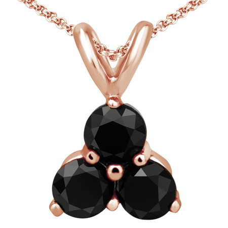 Round Cut Black Diamond Three-Stone Shared-Prong Pendant Necklace with Chain in Rose Gold - #C726-R-BLK
