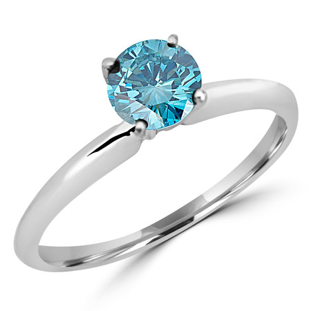 Round Cut Ocean Blue Diamond Solitaire 4-Prong Engagement Ring in White Gold - #S4R-W-BLUE