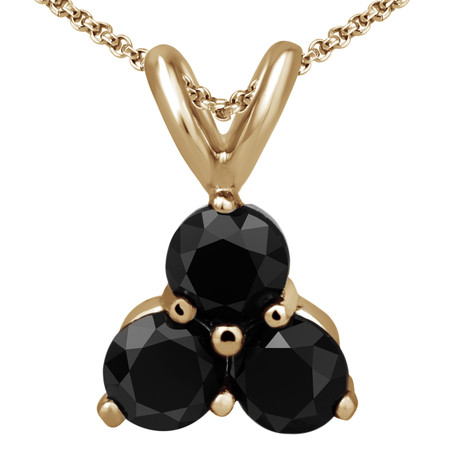 Round Cut Black Diamond Three-Stone Shared-Prong Pendant Necklace with Chain in Yellow Gold - #C726-Y-BLK