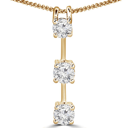 Round Cut Diamond Three-Stone 4-Prong Pendant Necklace with Chain in Yellow Gold - #R753L-Y