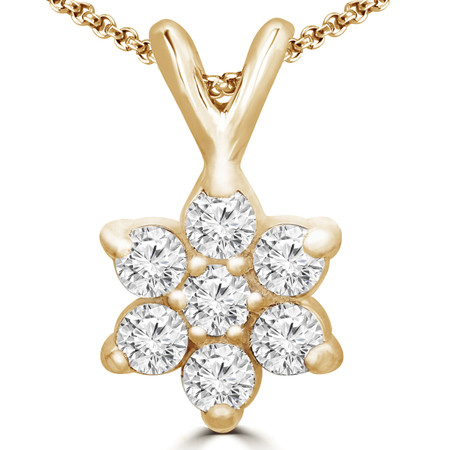 Round Cut Diamond Multi-Stone Star-Inspired Shared-Prong Pendant Necklace with Chain in Yellow Gold - #C725-Y