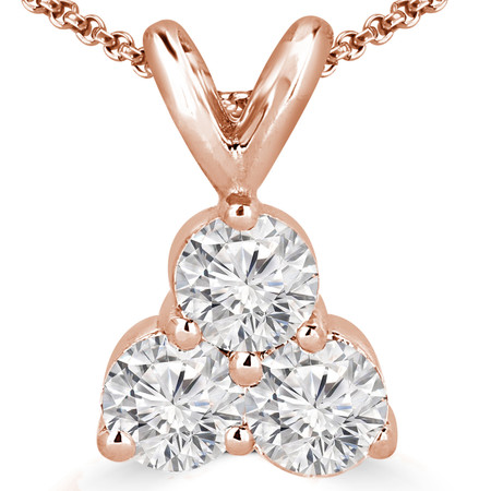 Round Cut Diamond Three-Stone Shared-Prong Pendant Necklace with Chain in Rose Gold - #C726-R