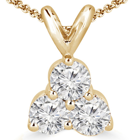 Round Cut Diamond Three-Stone Shared-Prong Pendant Necklace with Chain in Yellow Gold - #C726-Y