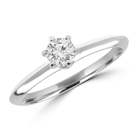 Round Cut Diamond Solitaire 5-Prong Engagement Ring in White Gold - #SRD1357-W