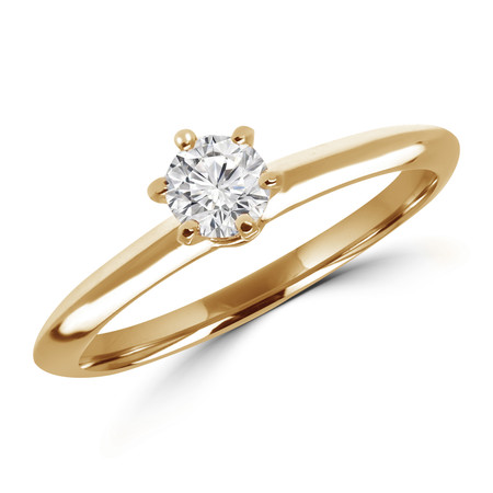 Round Cut Diamond Solitaire 5-Prong Engagement Ring in Yellow Gold - #SRD1357-Y