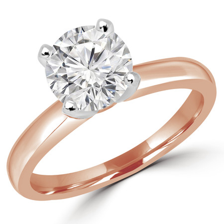 Round Cut Diamond Solitaire 4-Prong Engagement Ring in Rose Gold - #2546L-SMALL-R