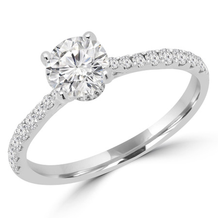 Round Cut Diamond Multi-Stone 4-Prong Engagement Ring with Round Diamond Accents in White Gold - #CLAIRE-W