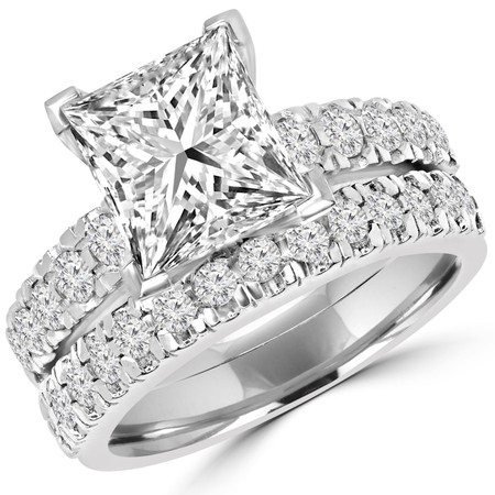 Princess Cut Diamond Multi-Stone V-Prong Engagement Ring & Wedding Band Ring Bridal Set with Round Diamond Scallop-Set Accents in White Gold - #LOCAL-NOVO-A-B-PR-W