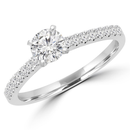Round Cut Diamond Multi-Stone 4-Prong Engagement Ring in White Gold - #MELODY-W