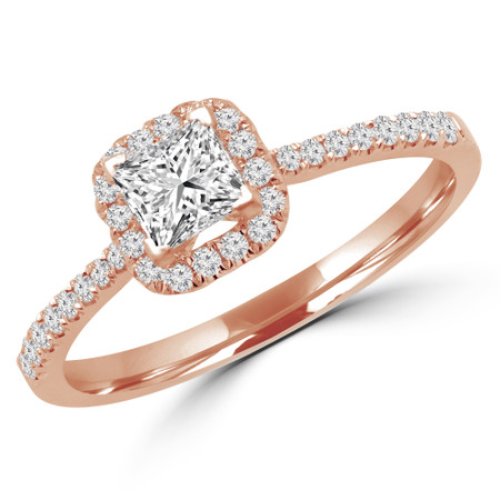 Princess Cut Diamond Multi-Stone 4-Prong Halo Engagement Ring with Round Diamond Accents in Rose Gold - #LEILA-R