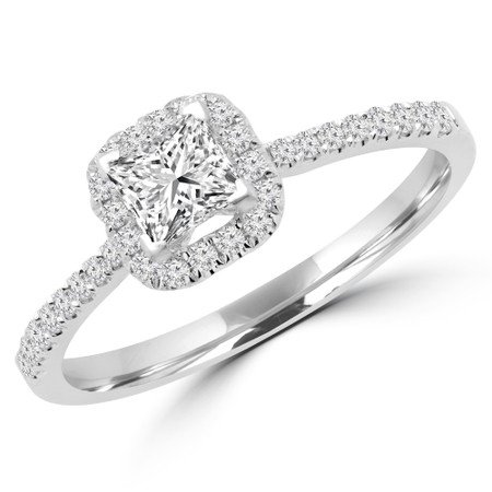 Princess Cut Diamond Multi-Stone 4-Prong Halo Engagement Ring with Round Diamond Accents in White Gold - #LEILA-W