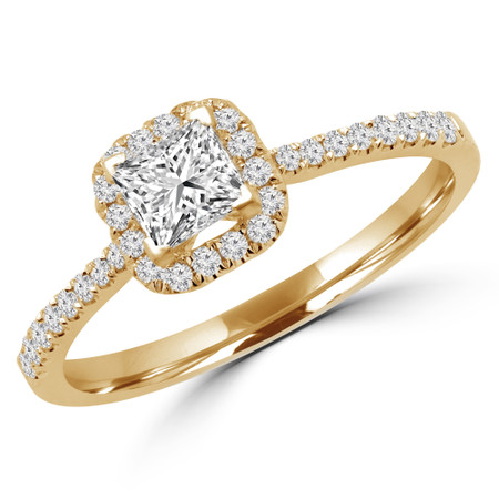 Princess Cut Diamond Multi-Stone 4-Prong Halo Engagement Ring with Round Diamond Accents in Yellow Gold - #LEILA-Y
