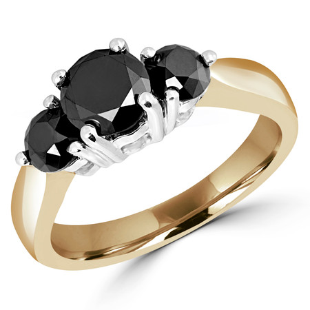 Round Cut Black Diamond Three-Stone 4-Prong Engagement Ring in Yellow Gold - #1547L-Y-BLK