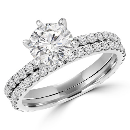 Round Cut Diamond Multi-Stone 6-Prong Engagement Ring & Wedding Band Bridal Set with Round Diamond Scallop-Set Accents in White Gold - #MAJ1-A-B-SET-W