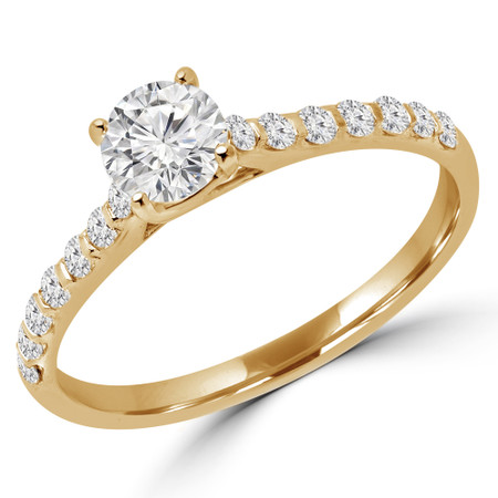 Round Cut Diamond Multi-Stone 4-Prong Engagement Ring with Round Diamond Accents in Yellow Gold - #CALINA-Y