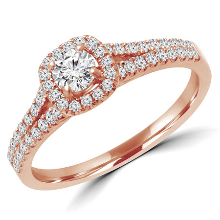 Round Cut Diamond Multi-Stone 4-Prong Split-Shank Halo Engagement Ring with Round Diamond Accents in Rose Gold - #ALANA-R