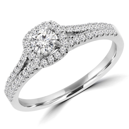 Round Cut Diamond Multi-Stone 4-Prong Split-Shank Halo Engagement Ring with Round Diamond Accents in White Gold - #ALANA-W