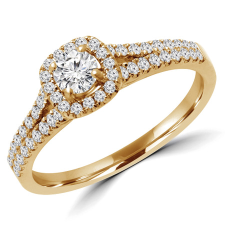 Round Cut Diamond Multi-Stone 4-Prong Split-Shank Halo Engagement Ring with Round Diamond Accents in Yellow Gold - #ALANA-Y