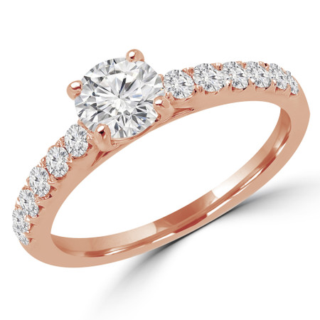 Round Cut Diamond Multi-Stone 4-Prong Engagement Ring with Round Diamond Accents in Rose Gold - #ELSA-R
