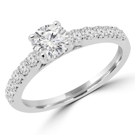 Round Cut Diamond Multi-Stone 4-Prong Engagement Ring with Round Diamond Accents in White Gold - #ELSA-W