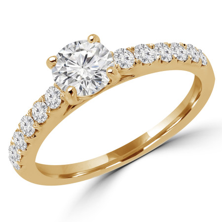 Round Cut Diamond Multi-Stone 4-Prong Engagement Ring with Round Diamond Accents in Yellow Gold - #ELSA-Y