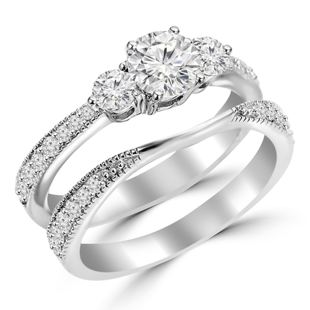 Round Cut Diamond Multi-Stone 4-Prong Trellis-Set Tapered-Shank Engagement Ring & Wedding Band Bridal Set with Round Diamond Accents in White Gold - #HR4746-A-B-W