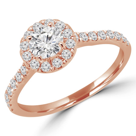 Round Cut Diamond Multi-Stone 4-Prong Halo Engagement Ring with Round Diamond Accents in Rose Gold - #LEIA-R