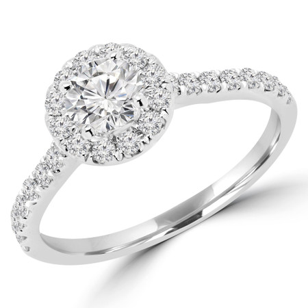 Round Cut Diamond Multi-Stone 4-Prong Halo Engagement Ring with Round Diamond Accents in White Gold - #LEIA-W