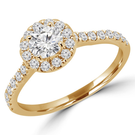 Round Cut Diamond Multi-Stone 4-Prong Halo Engagement Ring with Round Diamond Accents in Yellow Gold - #LEIA-Y