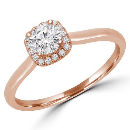 Round Cut Diamond Multi-Stone 4-Prong Halo Engagement Ring with Round Diamond Accents in Rose Gold - #LETIZA-R