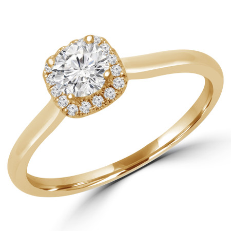 Round Cut Diamond Multi-Stone 4-Prong Halo Engagement Ring with Round Diamond Accents in Yellow Gold - #LETIZA-Y