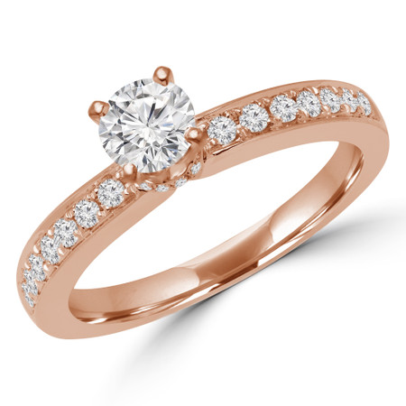 Round Cut Diamond Multi-Stone 4-Prong Engagement Ring with Round Diamond Accents in Rose Gold - #LILY-R