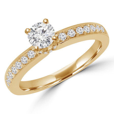 Round Cut Diamond Multi-Stone 4-Prong Engagement Ring with Round Diamond Accents in Yellow Gold - #LILY-Y